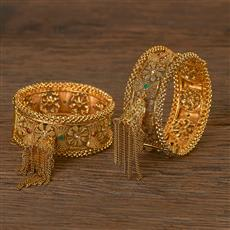 206483 Antique Openable Bangles With Gold Plating