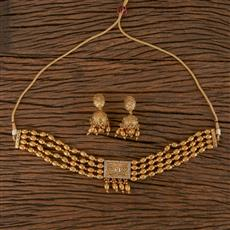 206486 Antique Choker Necklace With Gold Plating