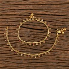 206496 Antique Baby Payal With Gold Plating