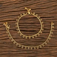 206497 Antique Baby Payal With Gold Plating