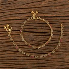 206498 Antique Baby Payal With Gold Plating