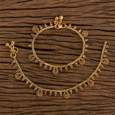 206500 Antique Baby Payal With Gold Plating