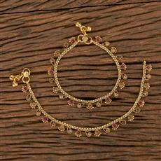206502 Antique Baby Payal With Gold Plating