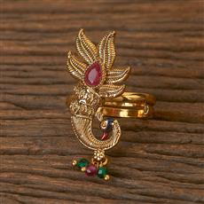 206556 Antique Peacock Ring With Gold Plating