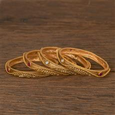 206559 Antique Classic Bangles With Matte Gold Plating