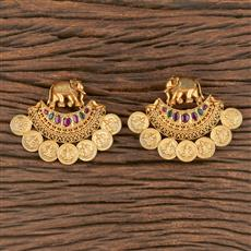 206560 Antique Temple Earring With Matte Gold Plating