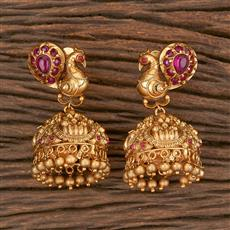 206561 Antique Temple Earring With Matte Gold Plating