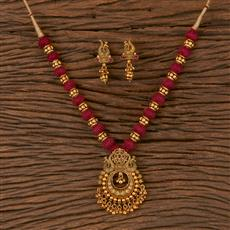 206573 Antique South Indian Pendant Set With Matte Gold Plating
