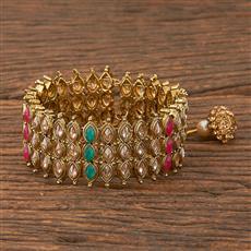 206584 Antique Adjustable Bracelet With Mehndi Plating