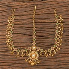 206602 Antique South Indian Damini With Matte Gold Plating
