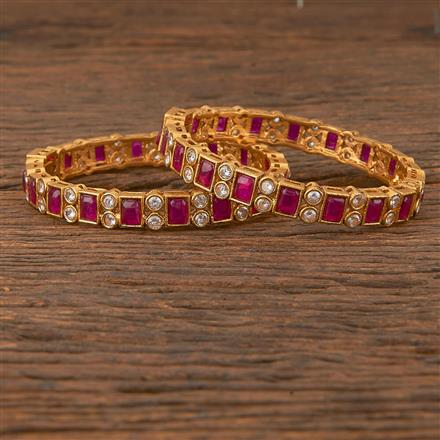 206624 Antique Openable Bangles With Matte Gold Plating