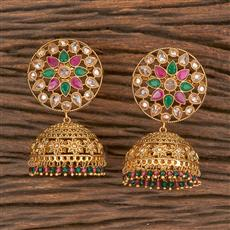 206629 Antique Jhumkis With Gold Plating
