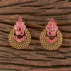 206630 Antique Chand Earring With Gold Plating