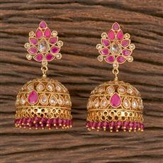 206632 Antique Jhumkis With Gold Plating
