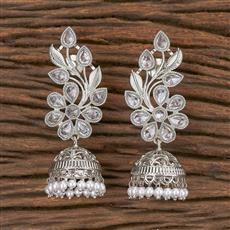 206637 Antique Jhumkis With Rhodium Plating