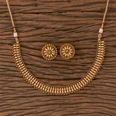 206649 Antique Plain Necklace With Matte Gold Plating