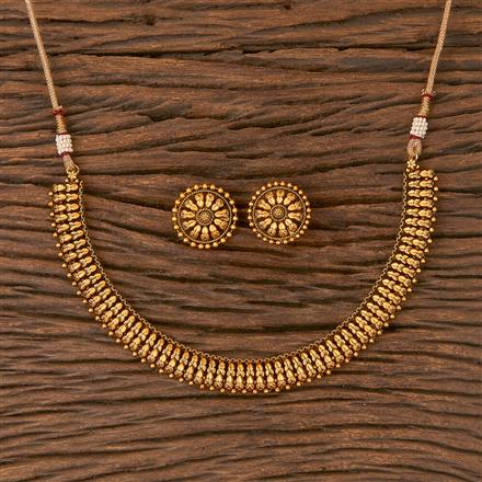 206649 Antique Plain Necklace With Matte Gold Plating