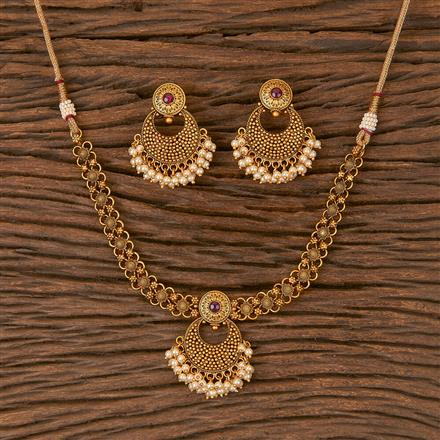 206650 Antique Delicate Necklace With Matte Gold Plating
