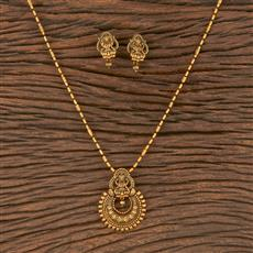 206651 Antique South Indian Pendant Set With Matte Gold Plating
