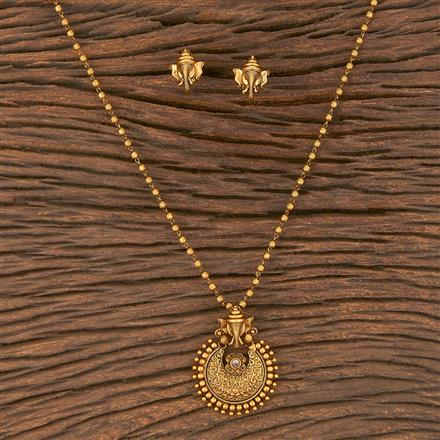 206652 Antique South Indian Pendant Set With Matte Gold Plating