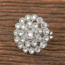 206653 Antique Delicate Ring With Rhodium Plating