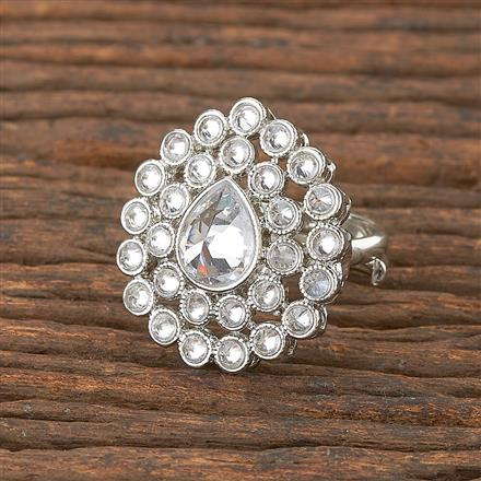 206659 Antique Delicate Ring With Rhodium Plating