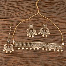 206661 Antique Choker Necklace With Mehndi Plating