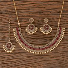 206662 Antique Classic Necklace With Mehndi Plating