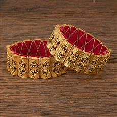 206663 Antique Openable Bangles With Matte Gold Plating