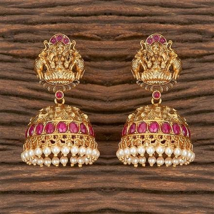 206671 Antique Jhumkis With Matte Gold Plating