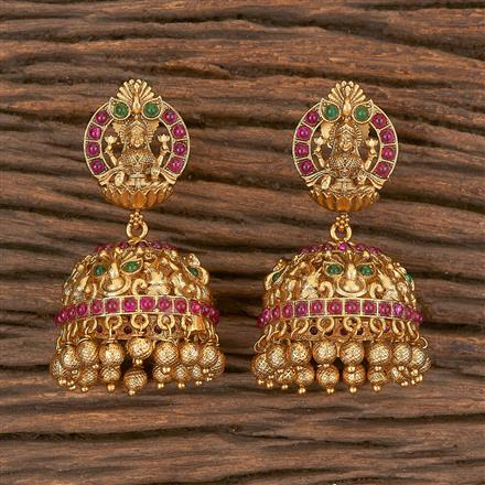 206672 Antique Jhumkis With Matte Gold Plating