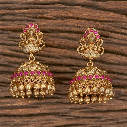 206673 Antique Jhumkis With Matte Gold Plating