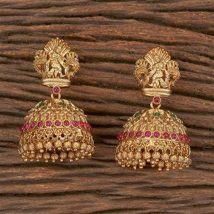 206674 Antique Jhumkis With Matte Gold Plating
