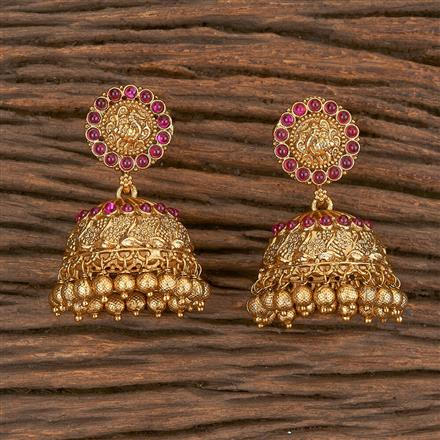 206675 Antique Jhumkis With Gold Plating