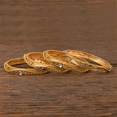 206683 Antique South Indian Bangles With Matte Gold Plating