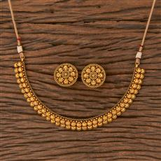 206687 Antique Plain Necklace With Matte Gold Plating