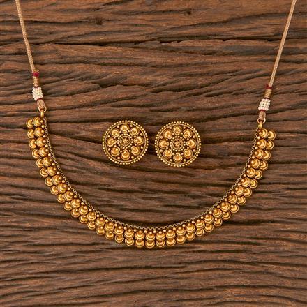 206687 Antique Plain Necklace With Matte Gold Plating