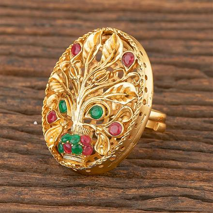 206690 Antique Classic Ring With Matte Gold Plating