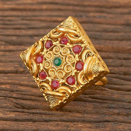 206691 Antique Classic Ring With Matte Gold Plating