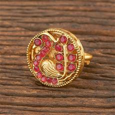 206693 Antique Peacock Ring With Matte Gold Plating