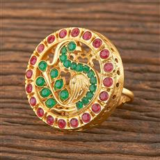 206695 Antique Peacock Ring With Matte Gold Plating