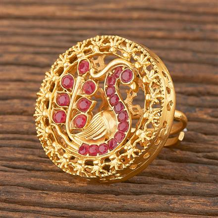 206696 Antique Peacock Ring With Matte Gold Plating