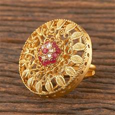 206698 Antique Classic Ring With Matte Gold Plating