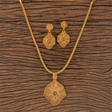206750 Antique Plain Pendant Set With Gold Plating