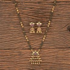 206809 Antique Classic Mangalsutra With Matte Gold Plating