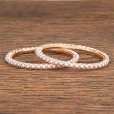 206837 Antique Delicate Bangles With Rose Gold Plating
