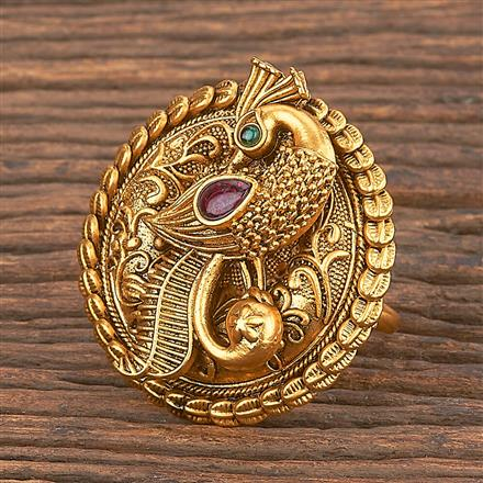 206859 Antique Peacock Ring With Matte Gold Plating