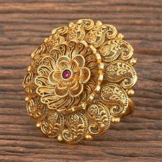 206861 Antique Classic Ring With Matte Gold Plating