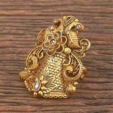 206863 Antique Peacock Ring With Matte Gold Plating