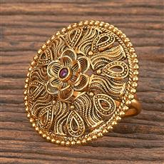 206864 Antique Classic Ring With Matte Gold Plating